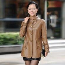 2018 New spring leather jackets, genuine leather clothing medium-long loose plus size sheepskin leather coat , M-4XL