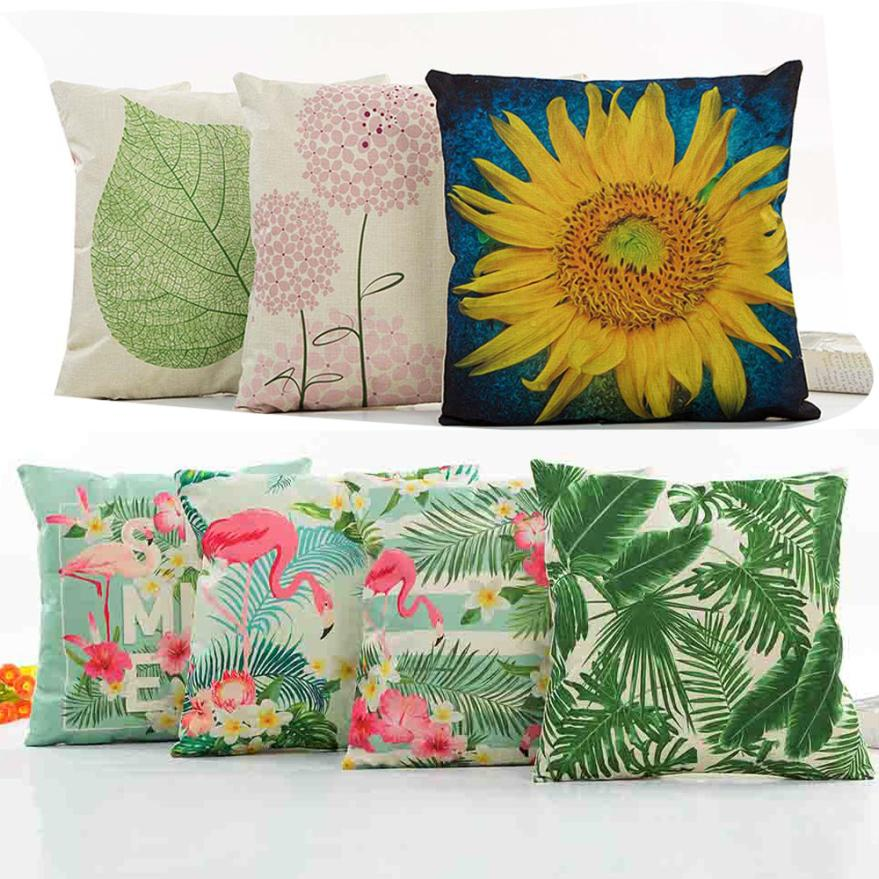 Flowers Painting Waist Throw 43x43cm Cushion Case For Home Decor Sofa Cushions Cojines Decorativos Almofadas Para Sierkussen