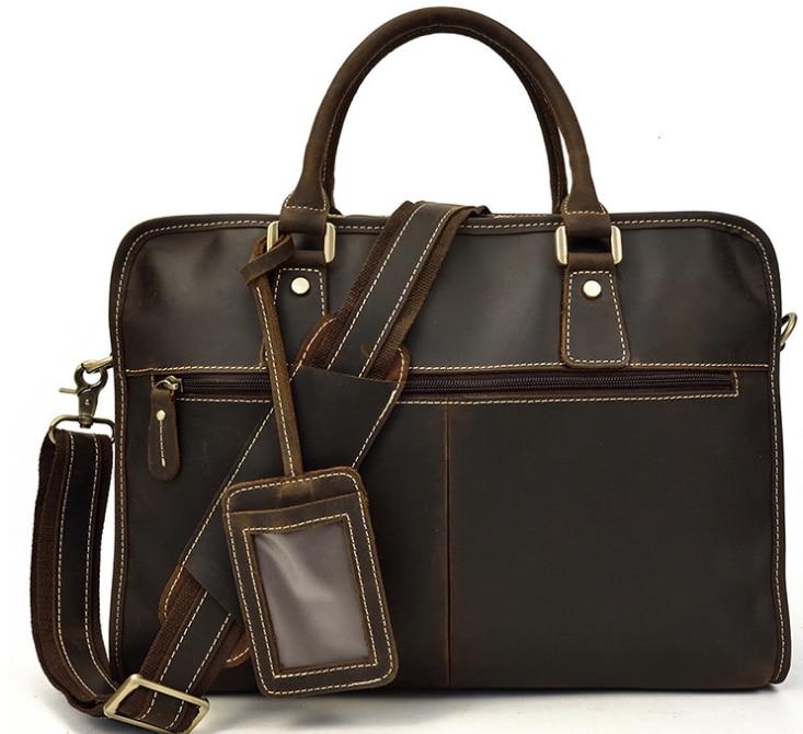 Multi-Function Men Genuine Leather Briefcases Male Cowhide Laptop Business Bags Casual Travel Photo Holder Vintage Handbag D836