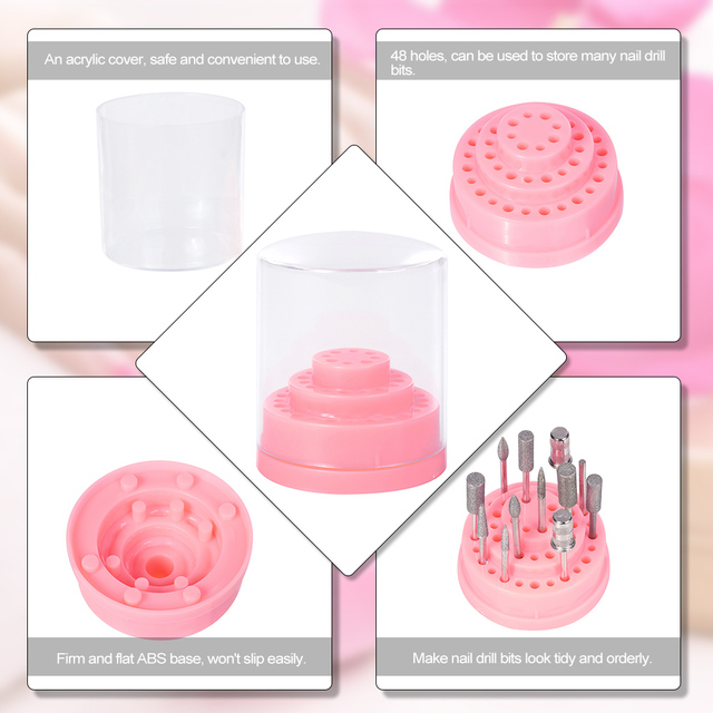 1 Set 48 Holes Pink Nail Drill Bits Holder Stand Display Nail Drill Bit Box Organizer Container Manicure Tool Acrylic Cover