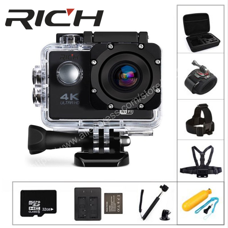 2018 RICH F5 action camera WiFi 1080P 170D Len 2.0 LCD Helmet Cam go Underwater pro Waterproof Sports HD cameras Camcorder DV-in Sports & Action Video Camera from Consumer Electronics