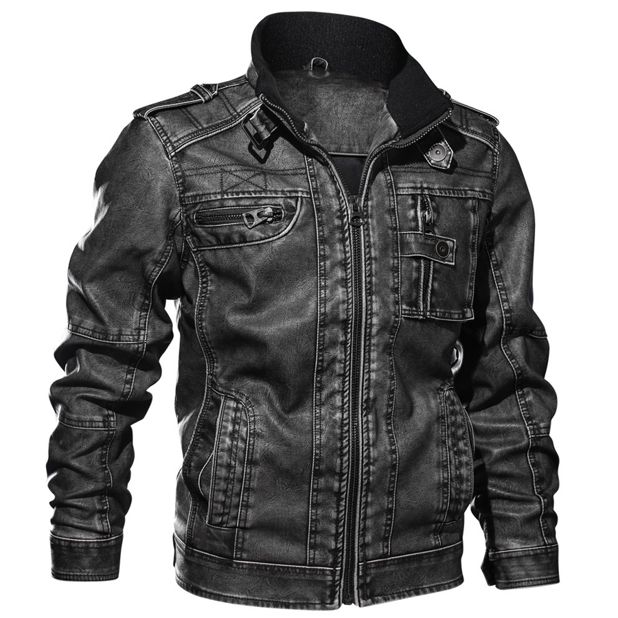 Image 5 - 2019 Jackets Men Slim Fit Casual Outwear Bomber Jacket Winderbreaker PU Motorcycle Leather Jackets male new fur coat 6XL 7XL-in Faux Leather Coats from Men's Clothing