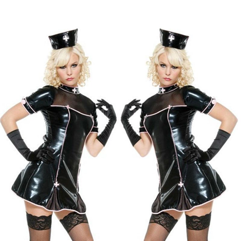 NEW Top Quality Lady Sexy PVC Leather Latex Nurse Dress