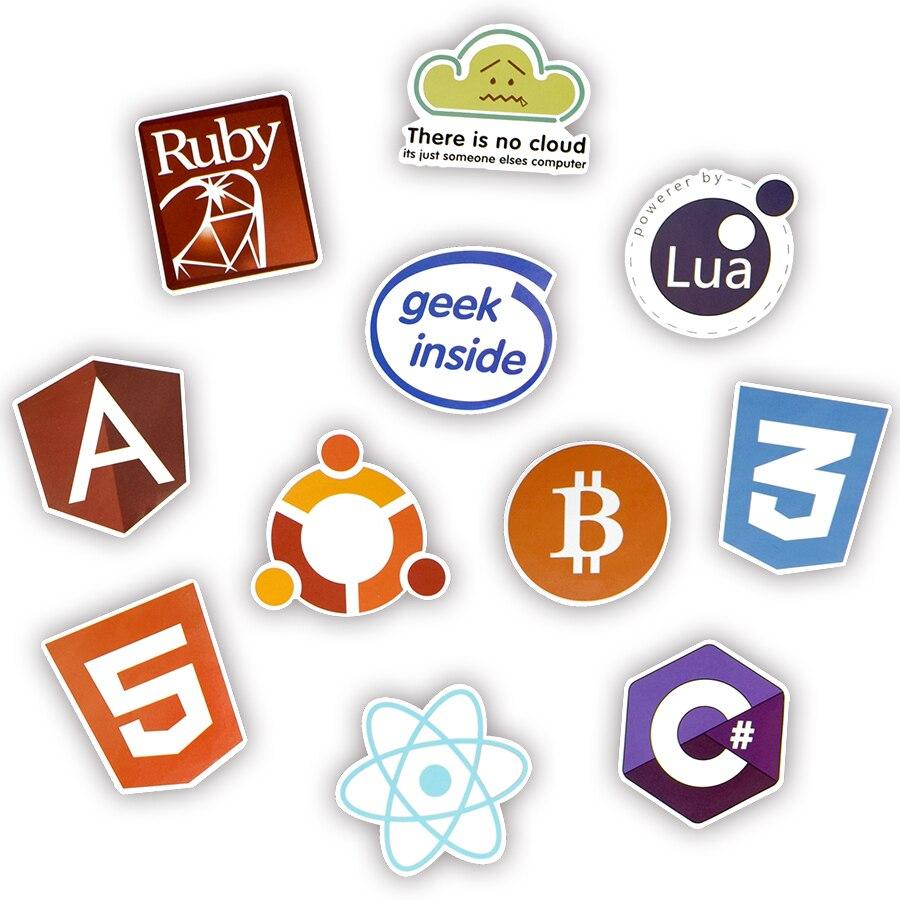 50 Pcs Keren Pemrograman Stiker Logo Perangkat Lunak Internet Stiker