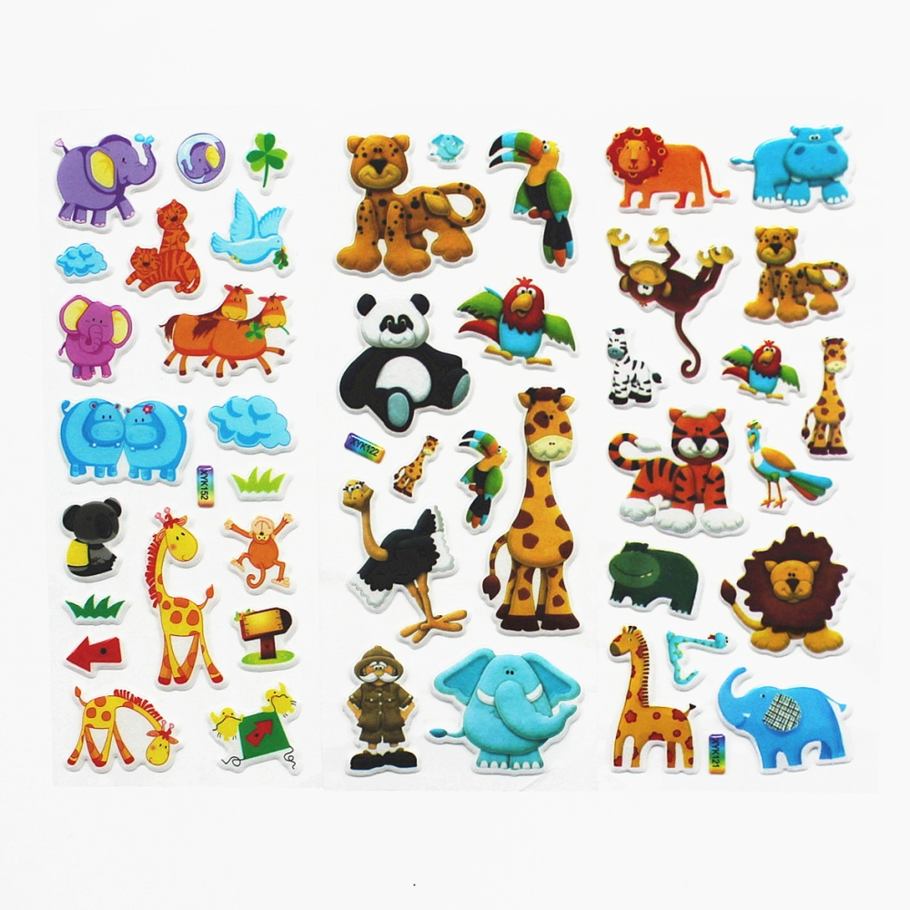 3sheets Stereoscopic 3d animal cartoon bubble stickers christmas cartoon owl removable nursery animal wall stickers