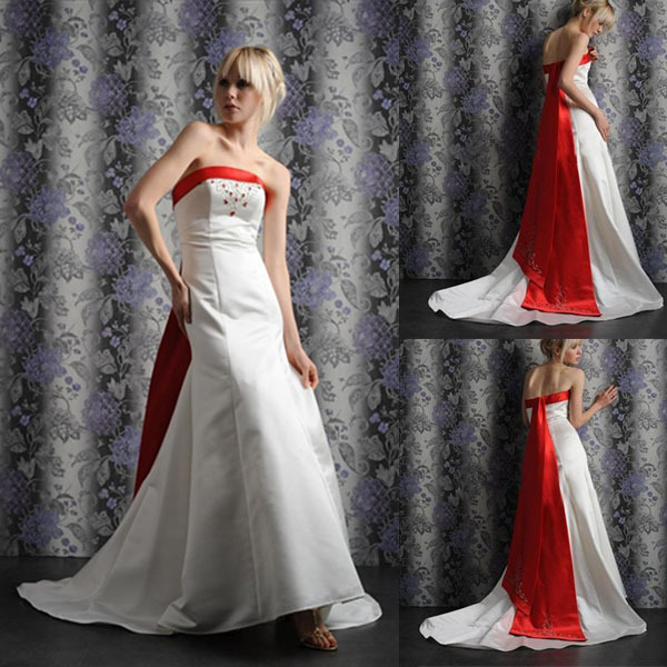New arrival custom made royal train cheap red and white for Cheap white and red wedding dresses