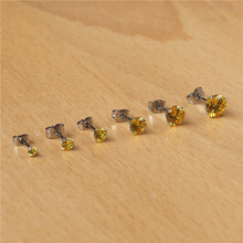 BG6 316 L Stainless Steel Stud Earrings With 3mm To 8mm Golden No Fade Allergy Free Classic Style