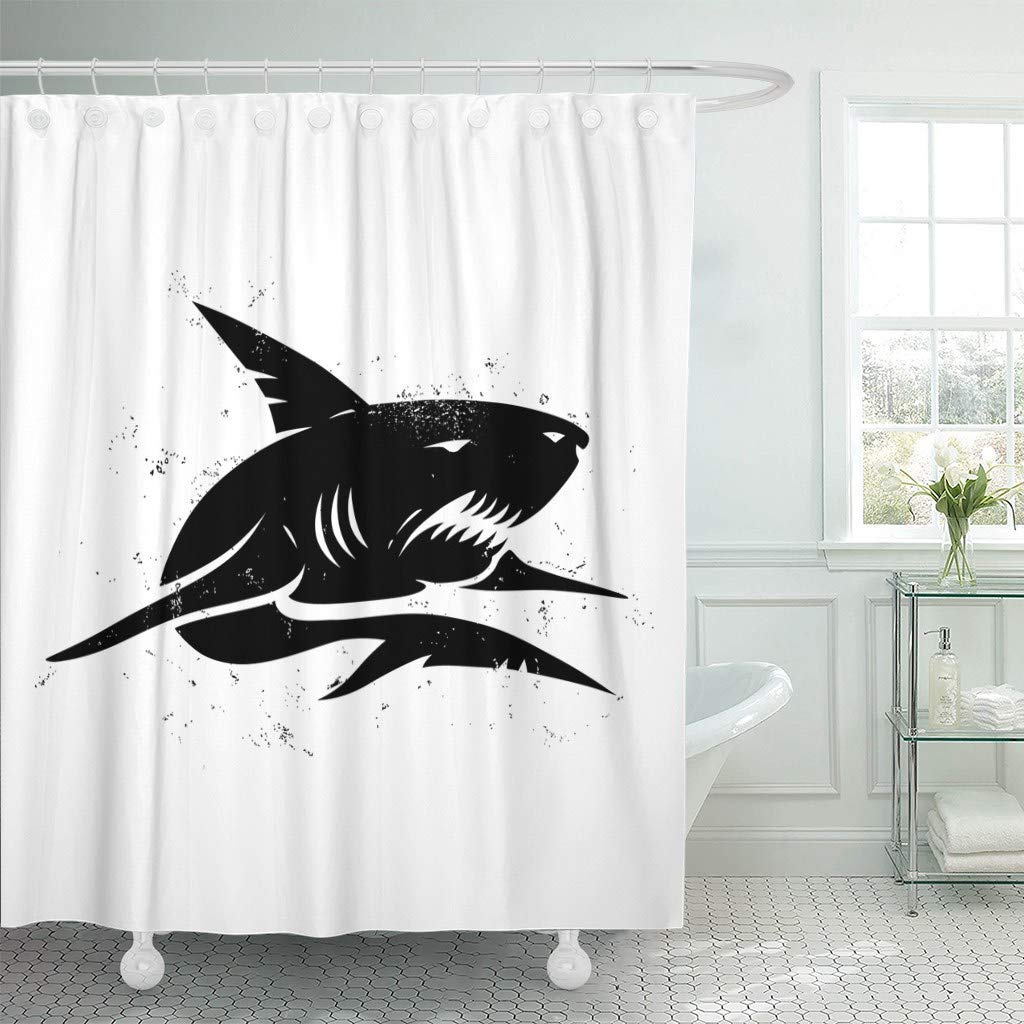 Fabric Shower Curtain With Hooks Graphic Vintage Of Black Shark Angry Fish Fishing Silhouette Tattoo Abstract Aggressive