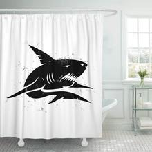 aac279152ecdc Fabric Shower Curtain with Hooks Graphic Vintage of Black Shark Angry Fish  Fishing Silhouette Tattoo Abstract