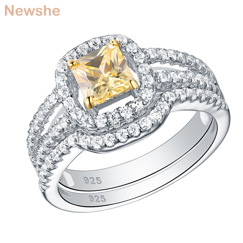 Image 2 - Newshe Blue & Yellow Princess Cut Zirconia 2Pcs 925 Sterling Silver Wedding Rings For Women Engagement Ring SetRings   -