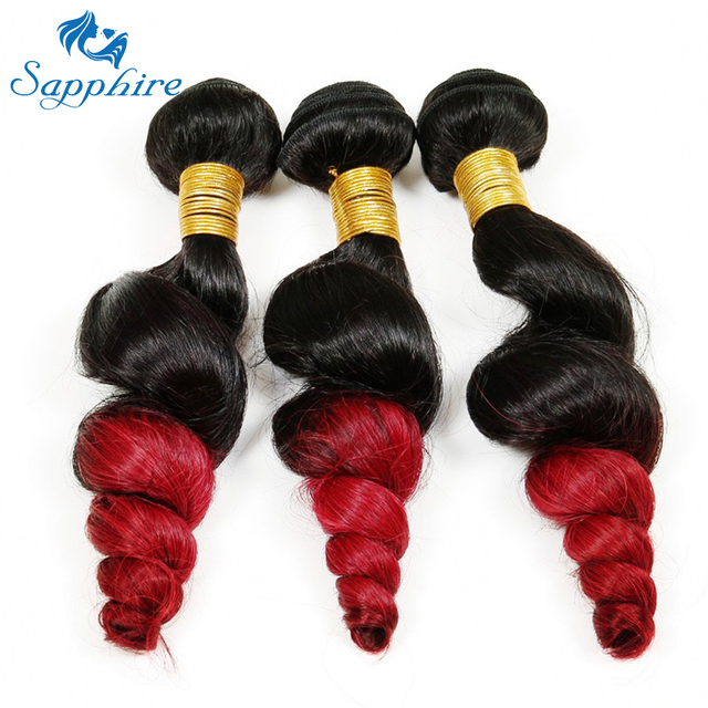 Sapphire Ombre Brazilian Hair Loose Wave Bundles Ombre Red Loose
