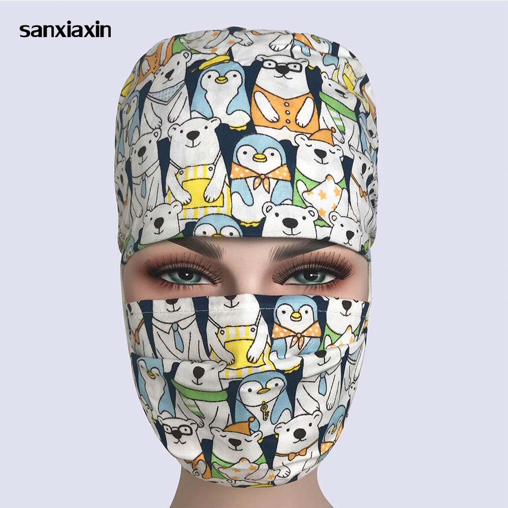 NEW Cotton Surgical Caps Scrub Caps For Women And Men Hospital Medical Hat Print Cat In Black Tieback Elastic Section Dentist