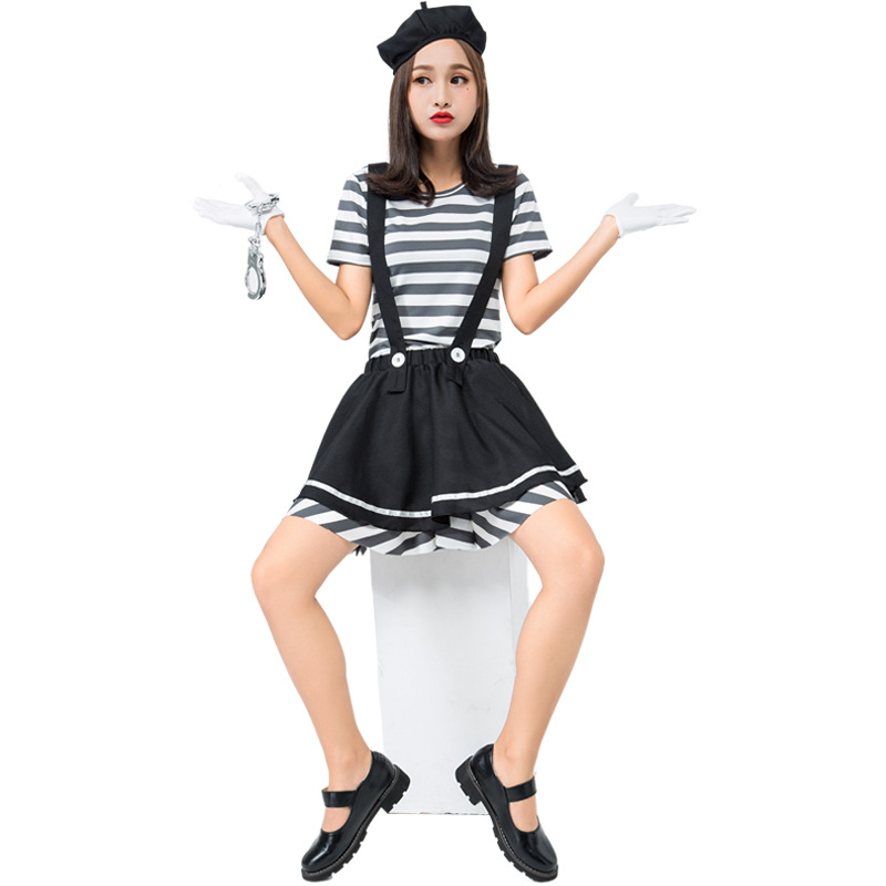 Adult Woman Mime Artist Fancy Dress French Circus Costume Street Outfit