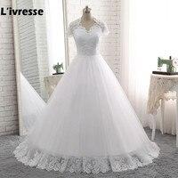 2016 New Elegant Vestido De Noiva Long A Line Wedding Dresses Cheap Sexy White Tulle Appliques
