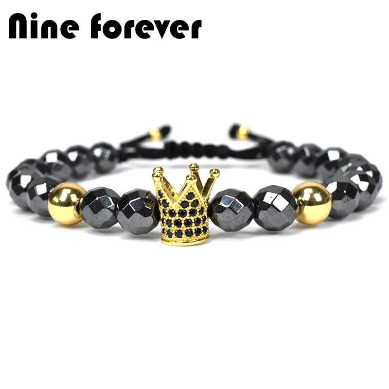 Nine forever crown charms Bracelet men jewelry bileklik hematite beads braiding Bracelets for women pulseira masculina feminina