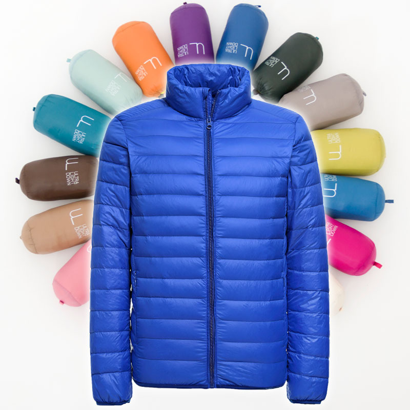 Winter Fashion Brand Ultra Light Duck Down Jacket Men Stand Collar Streetwear Feather Coat Packable Waterp Warm Men Clothing