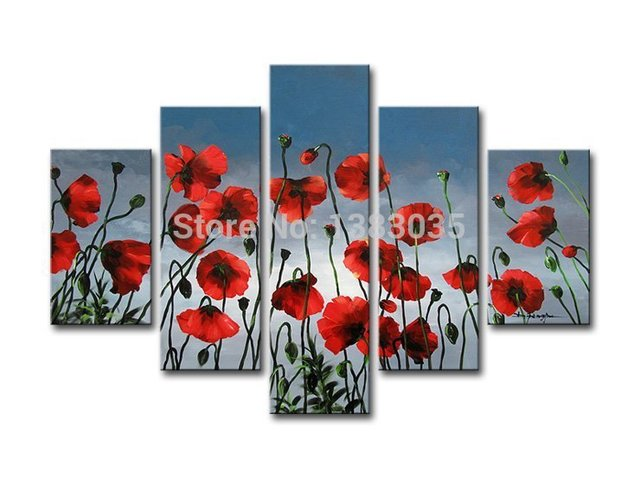 Hand painted modern red poppy flower paintings on canvas 5 piece hand painted modern red poppy flower paintings on canvas 5 piece abstract oil art wall decoration mightylinksfo