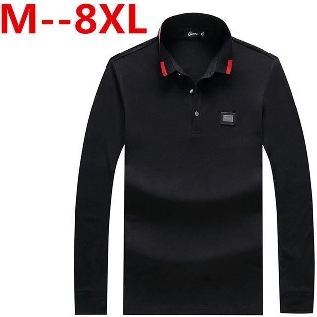 Марка Мужчины Polo Hombre Рубашки Мужские Воротник рубашки С Длинным Рукавом случайные Camisetas Masculinas Плюс Размер 8XL 6XL 5XL 4X Поло толстовка