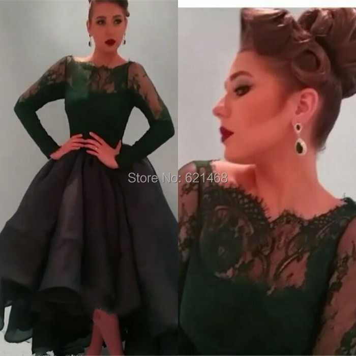 2017 Best Selling Dark Green Lace Long Sleeves Ball Gowns Puffy Princess Elegant Formal Evening dress Saudi Arabian - SOPHOENIYA Wedding Dress Factory store