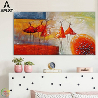 Modern Abstract Dancing African Women Oil Painting Hand Painted Wall Poster Canvas Art for Home Wall Decoration (No Frame)