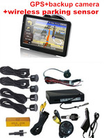 3 In 1 7inch GPS Reverse Back Camera Wireless Parking Sensor System GPS Av In Bluetooth