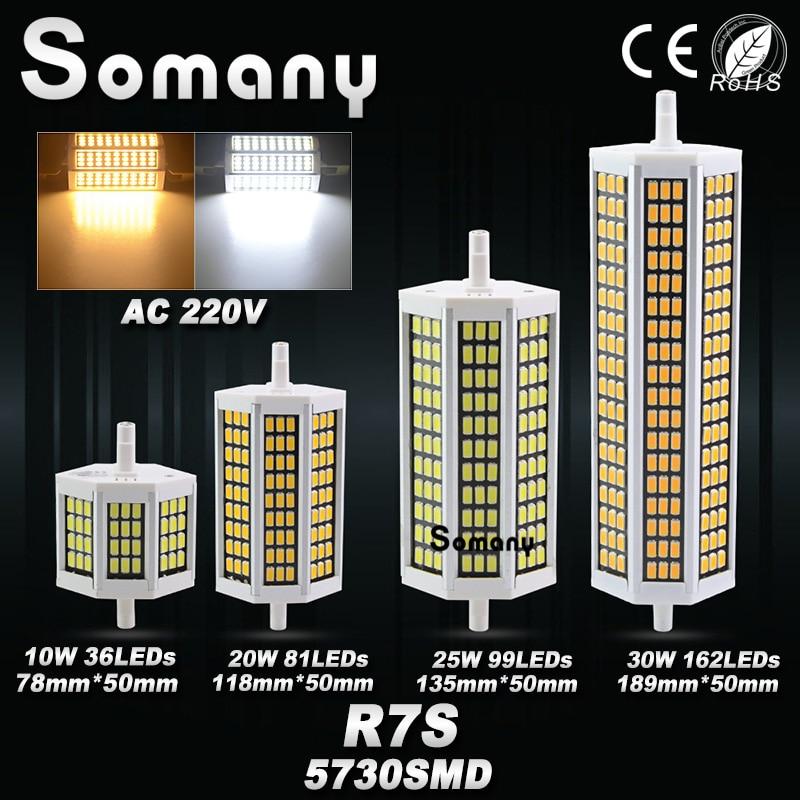 R7s led lamp 10w 20w 25w 30w 220v 5730 led bulb light 78mm for Led r7s 78mm 20w