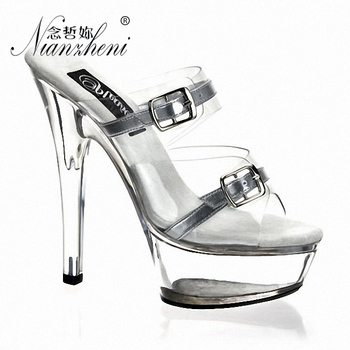 15cm Cross Dressing Sexy Shoes Punk Transparent Crystal Buckle Strap Lady Shoes Open Toe Slippers 6 High High Heels Gothic Shoes