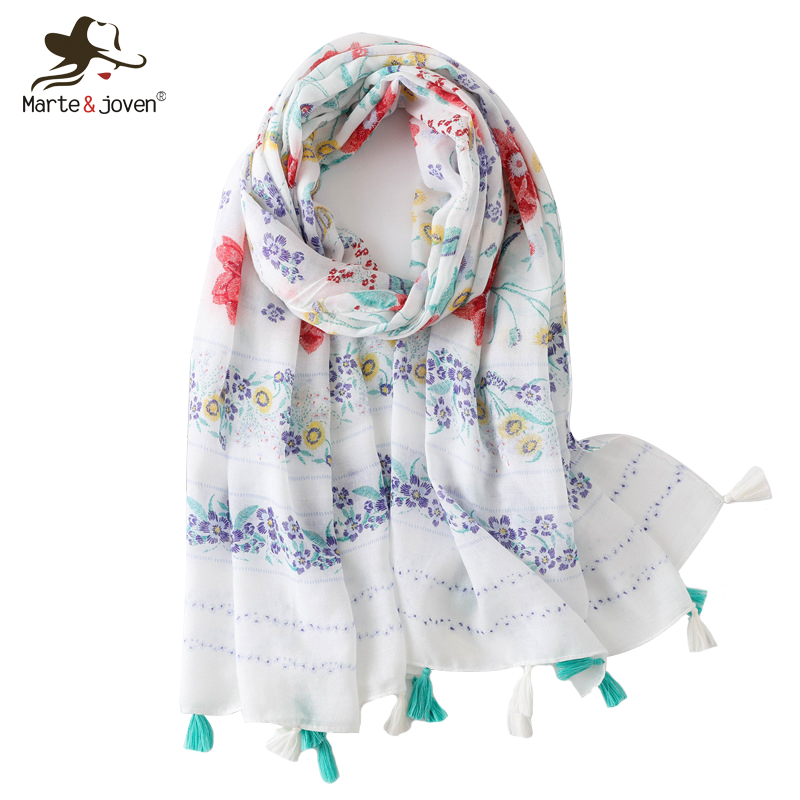 Marte&Joven Spring Autumn Thin Soft Scarves Wrap for Female Big Pashmina Classic Floral Print White Women Scarf with Tassel