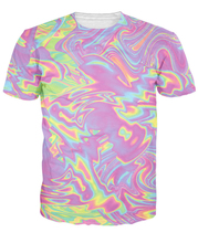 Goth Pastel T-Shirt Dizzying Swirls Of Iridescent Colors 3d Print Outfits Women Men Love Pink Color 5XL t shirt Tops teeS R2857