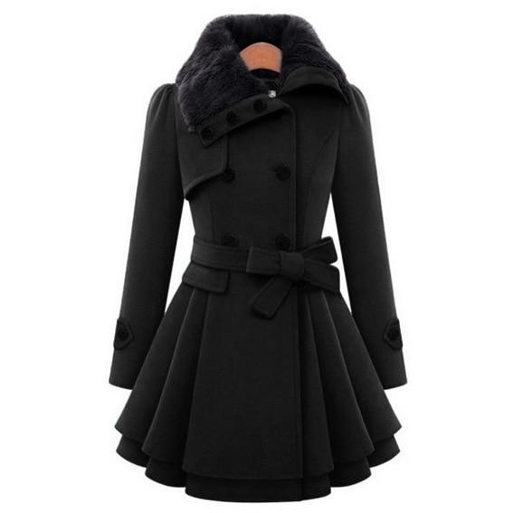Winter Women Slim Long Woolen Warm   Coat   Windbreaker Female   Coats   and Jackets Girls Blends Solid Ladies Tops Overcoat Promotion