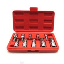 Screwdriver allen head sleeve Wrench 10 Pcs set 12 Point MM Triple Square Spline Bit Socket Set For Tamper-Proof Lug Nuts
