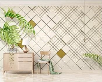 3d photo wallpaper custom mural Modern white mosaic quadrangle background wall Home decor living room wallpaper for walls 3 d