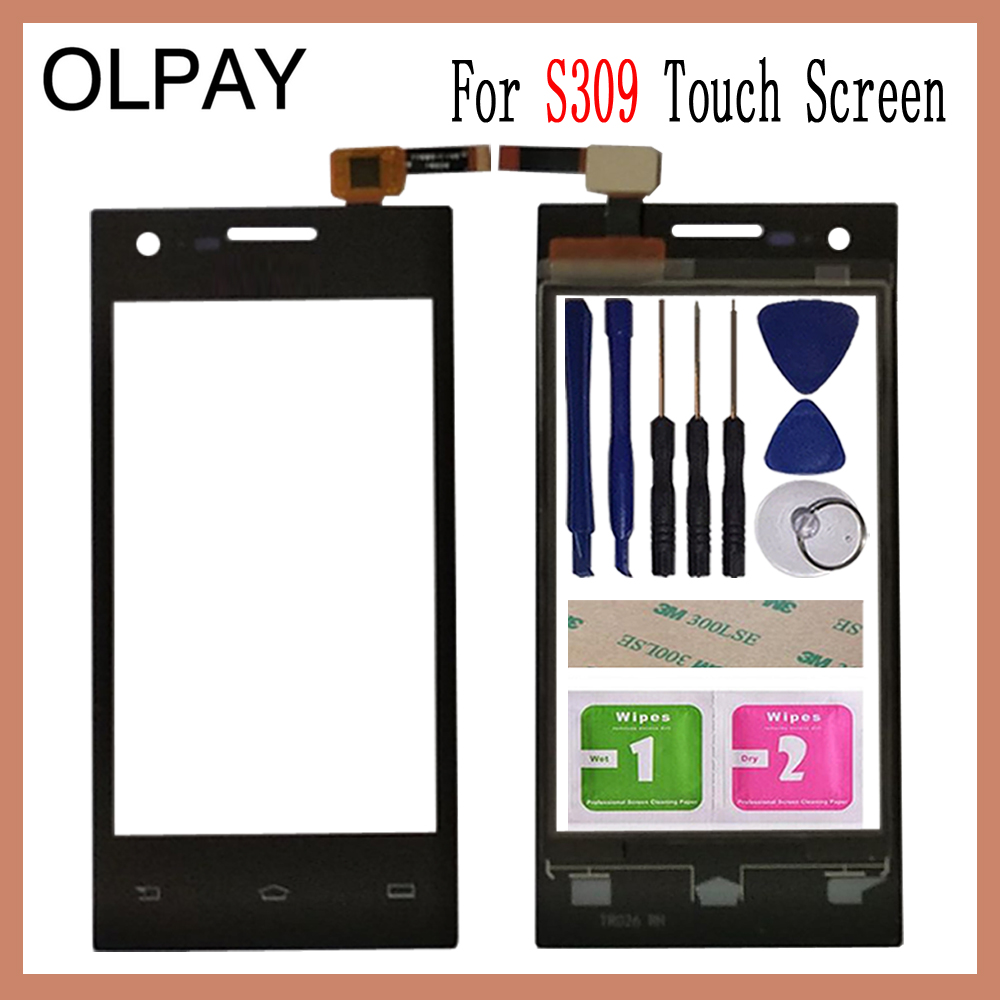 OLPAY 4.0 Inch For Philips S309 S 309 Touch Screen Digitizer Panel Front Outer Front Glass Lens Sensor Free Adhesive+Wipes