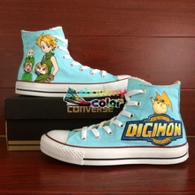 Blue Converse All Star Anime Woman Man Shoes Digimon Design Hand Painted Shoes Men Women High Top Sneakers Birthday Gifts