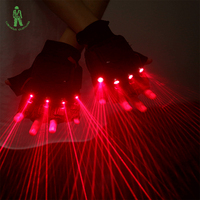Free Shipping Red LED Laser Gloves Red Light Dancing Stage Show DJ Club Party Disco Show Stage Lighting Effect Laserman Gloves