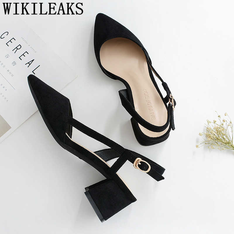 Dames pumps vrouwen schoenen slingback puntschoen hoge hakken sexy valentine schoenen dikke hak kleding schoenen vrouwen designer hakken buty