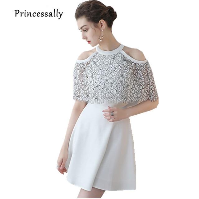 49978cfdfaa57 جديد الأبيض فستان سهرة قصير شيفون مع الدانتيل خفض التدريجي كيب الرسن أنيقة  الصيف ضيف حفل
