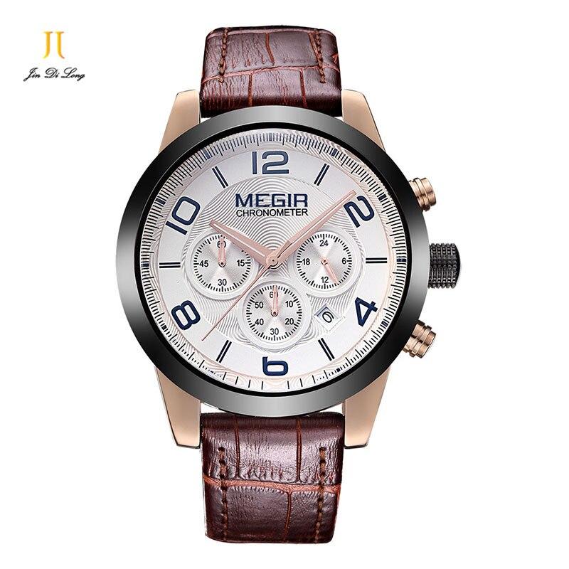 ФОТО Mens Quartz Sport Watches Genuine Leather Waterproof  Luxury Fashion Wrist Watch Male Clock relogio masculino relojes