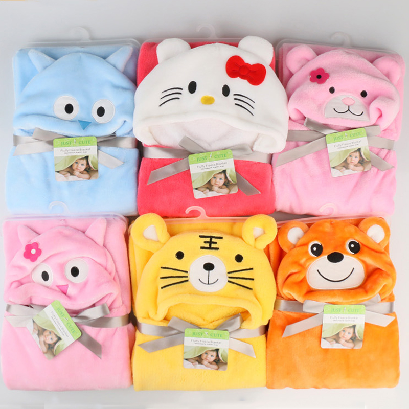 Baby Flannel Bath Towel Various Cartoon Design Cute Animal Panda KT Tiger Hooded Towel super Soft