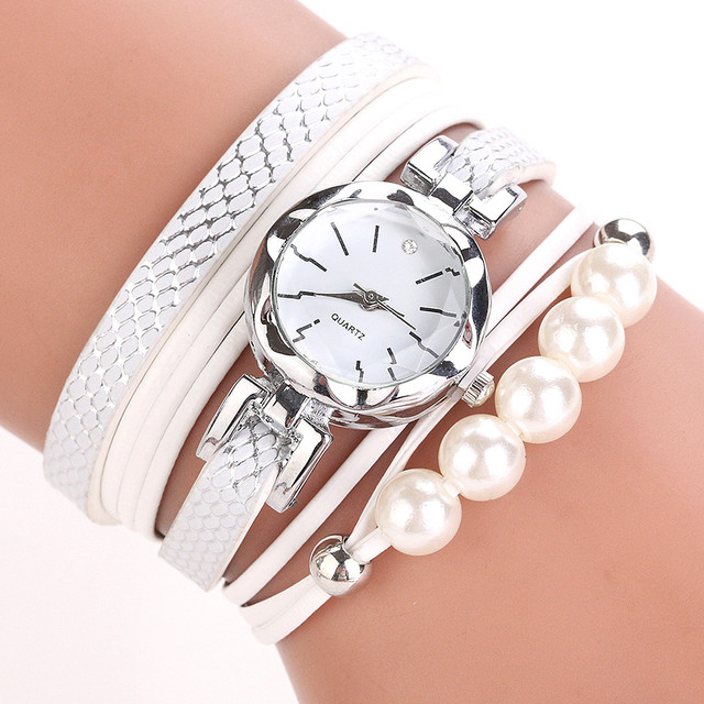 CCQ Women Fashion Casual Analog Quartz Women Rhinestone Pearl Bracelet Watch Lux