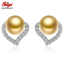 цена FEIGE Fashion Heart Earrings 925 Silver Stud Earring 6-7mm Golden Freshwater Pearl Earrings for Women Fine Jewelry Pendientes в интернет-магазинах