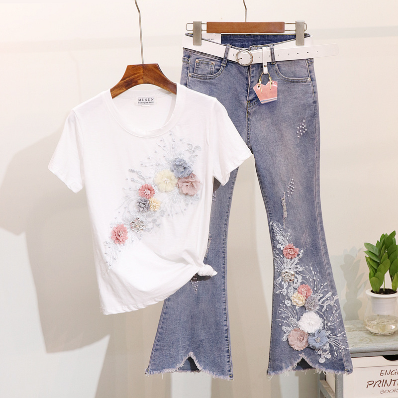 Spring Summer Korean Flare Jeans Set Women Two Piece Set Beading Embroidery Flower Cotton T Shirt