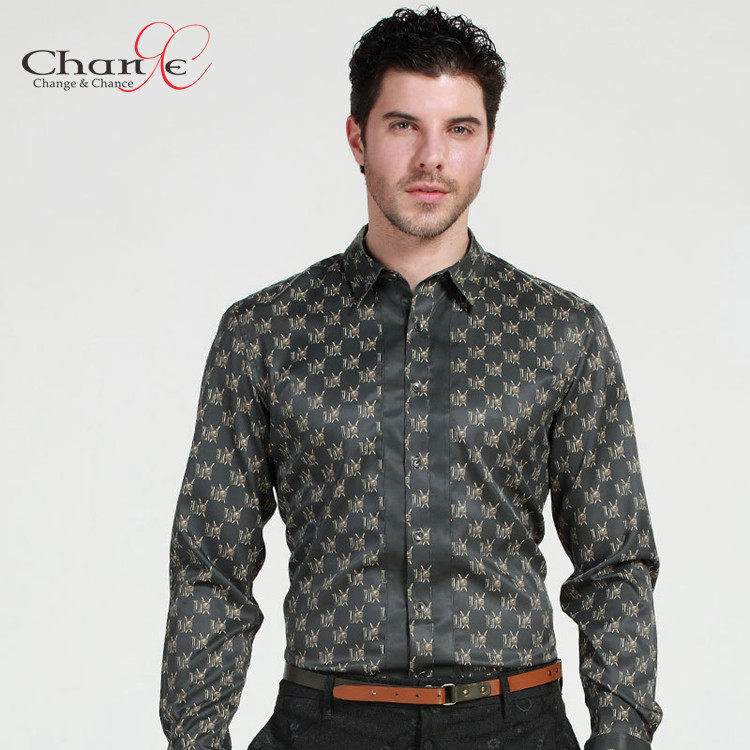 Top Quality Men Printed Shirt Satin Silk Fitted Shirt Mens Dress ...