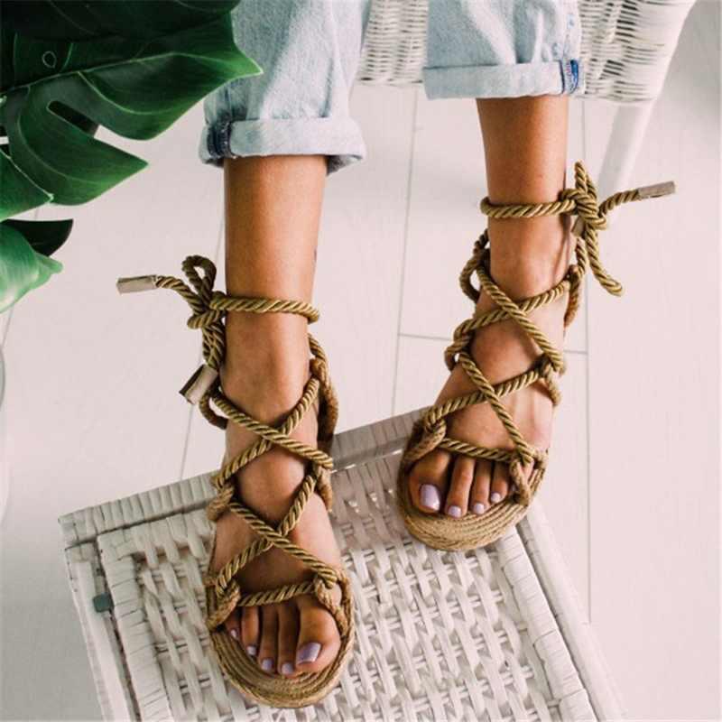 Litthing 42 43 boyutu kadın sandalet 2019 Boho Lace Up kenevir halat roma kadın sandalet günlükleri gladyatör çapraz bağlı kadın ayakkabı