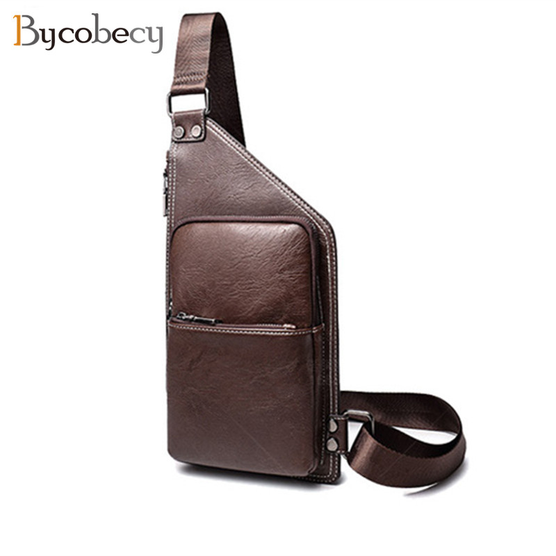 BYCOBECY Summer Vintage Bag Men Chest Pack Single Shoulder Strap Back Bags Leather Travel Men Crossbody Bags Chest Bag