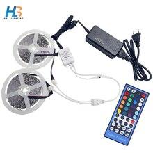 HBL RGBW   RGBWW LED Strip Light 5050 5M 10M 60LEDs/m Flexible Tape  + IR Controller + DC 12V Power Adapter full Set for home