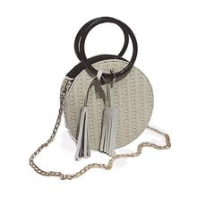 Ins Fashionable Portable Straw Small Round Bag 2018 New All-match Single Shoulder Messenger Fashion Female Beach Woven
