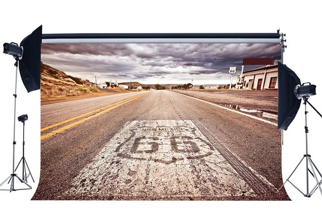 Route 66 Backdrop American West Cowboy Backdrops Rustic Highway White Cloud Nature Landscape Background