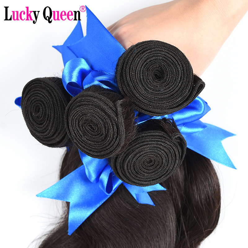 Lucky Queen Hair Produkt Brasilian Body Wave 3 Bundles Deal 100% - Mänskligt hår (svart) - Foto 5