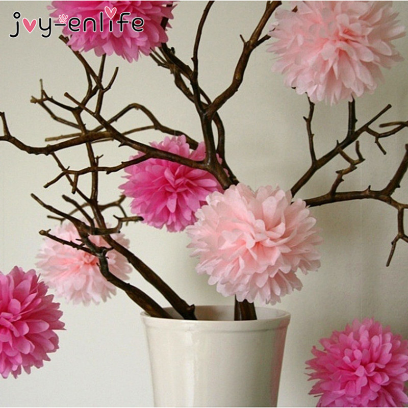JOY-ENLIFE Wedding Decoration 5pcs Pom Poms 10cm Tissue Paper Artificial Flowers Ball Baby Shower Party Craft Birthday Supplies